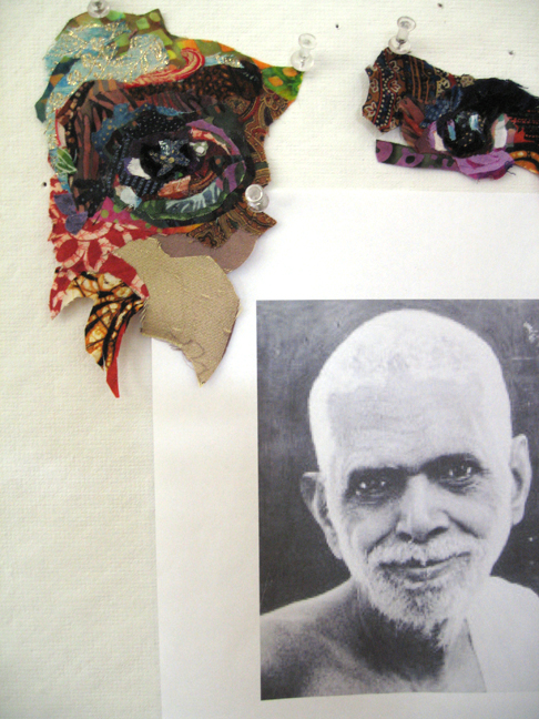 Fabric eyes and photo of Ramana