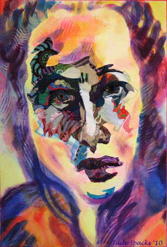 Portrait in fabric collage and paint